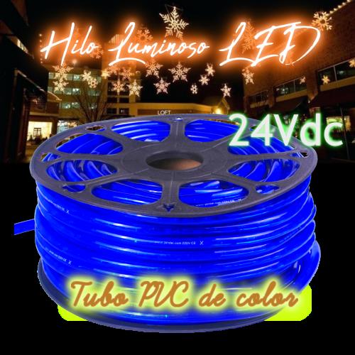 Hilo luminoso led al corte horizontal PVC AZUL exterior 24V