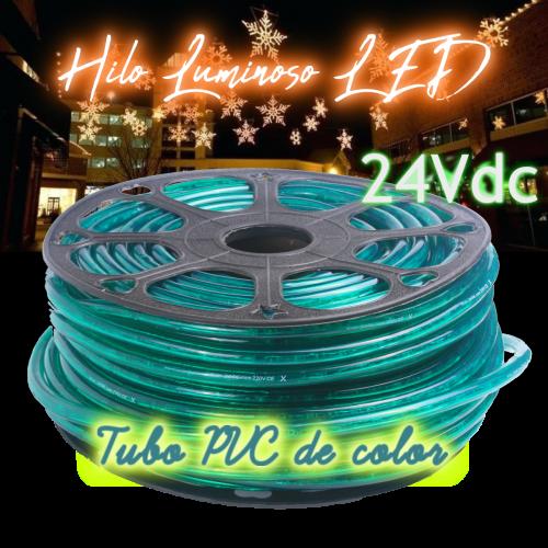 Hilo luminoso led al corte horizontal PVC VERDE exterior 24V