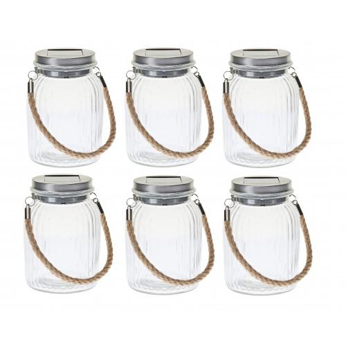 Pack x6 tarros de cristal decorativo con panel solar