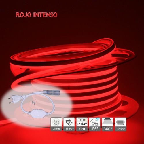 Neón led flex simple cara 120LED/m Rojo 220V exterior 25m
