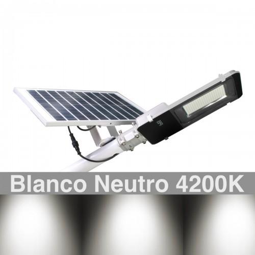 Farola Solar 2500 Lúmenes 200W Panel Orientable 4200K exterior ion-litio panel 25W