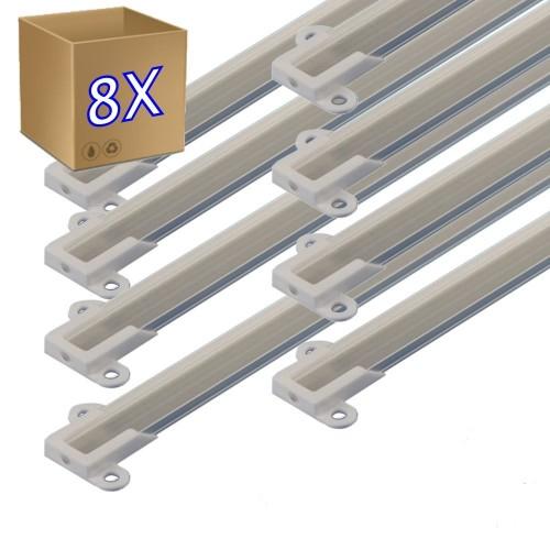 8 *1 metro Perfil aluminio tira led con tapa superficie 14 x 5 mm -  Sin difusor