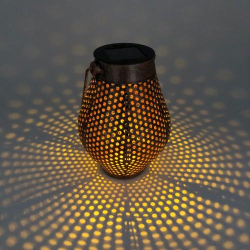 Candelabro metálico decorativo led y panel solar con batería