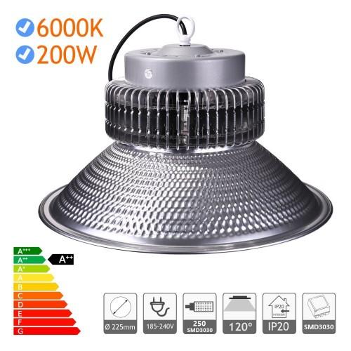 Campana LED 200W industrial luz blanca 6000K SMD