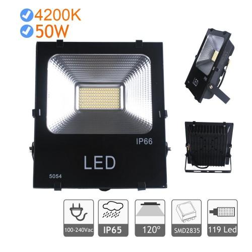 Proyector LED 50W luz blanca natural 4200K exterior negro