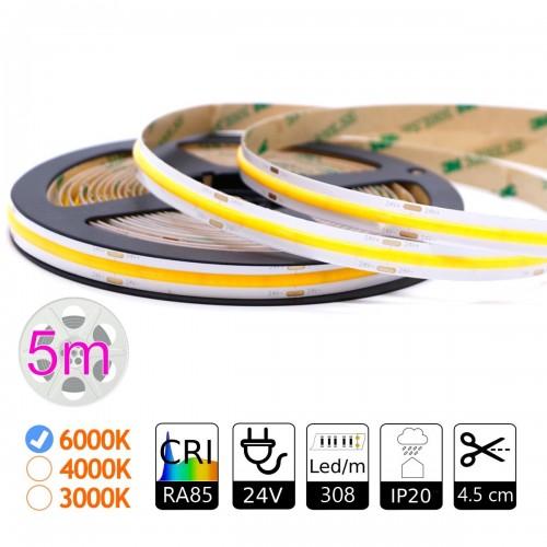 Tira led COB 24V  308leds 6000K IP20 5m