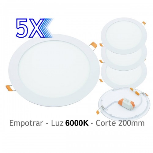 5x Downlight led 18W 6000K redondo empotrar blanco corte 200mm