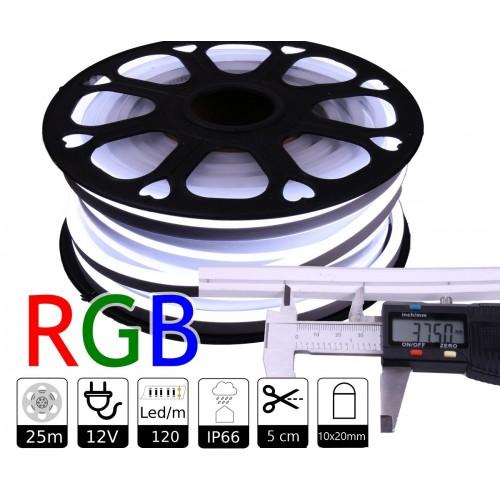Neon led flexible simple 12V RGB 8mm 112 led metro 8W  25m