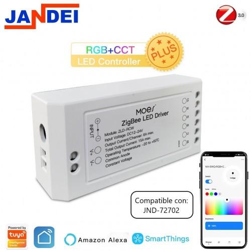 Zigbee controlador tira LED RGB CCT Tuya Smart App DC12-24V IP20