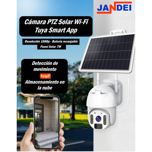 Cámara PTZ Solar WiFi 1080P lente 3.6mm Tuya Smart App Amazon Alexa Google Home