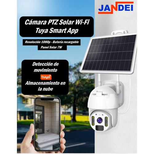 Cámara PTZ Solar WiFi 1080P Óptica Fija 3.6mm Tuya Smart App