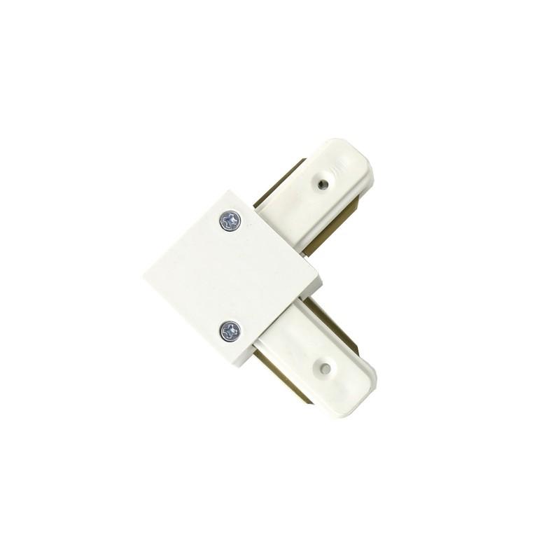Conector tipo L 90º para carril monofásico blanco