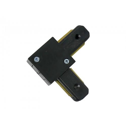 Conector tipo L 90º para carril monofásico negro