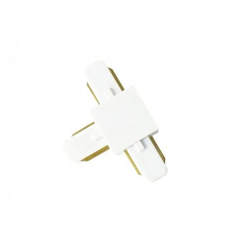 Conector tipo T para carril monofásico blanco