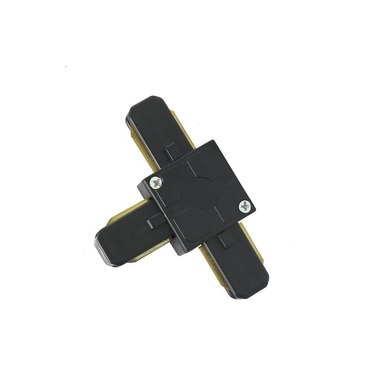 Conector tipo T para carril monofásico negro