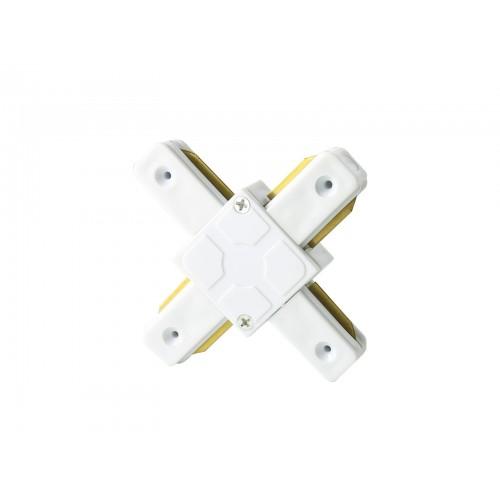 Conector tipo cruz X para carril monofásico blanco