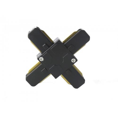 Conector tipo cruz X para carril monofásico negro