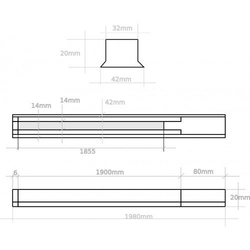 Carril monofásico para focos LED negro 2 Metros