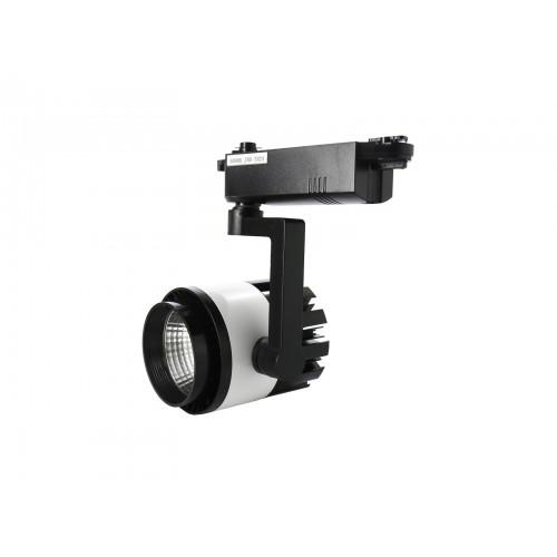 Foco led carril 20W COB 4200K carcasa negra/blanca y pie negro
