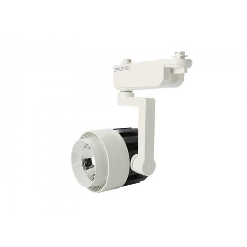 Foco led carril 20W COB 4200K carcasa blanca/negra y pie blanco