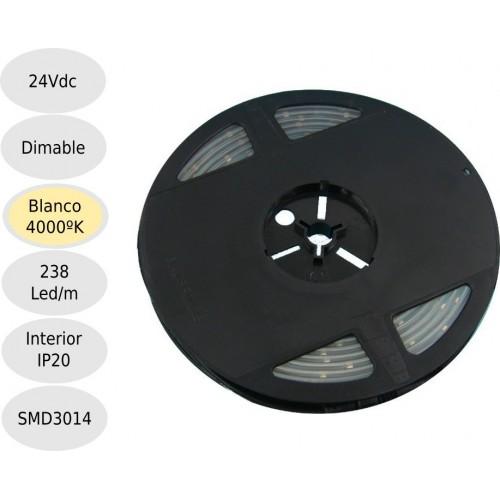 Tira led 24V 4000ºK 238leds IP20 SMD3014 Bobina 5 mts