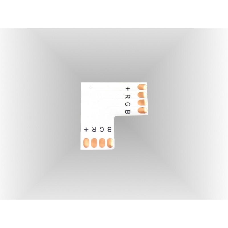 Conector RGB en L 90º 10mm para tira led Pack 10 ud