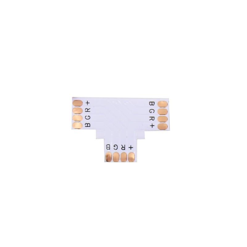Conector RGB en T 10mm para tira led Pack 10 ud