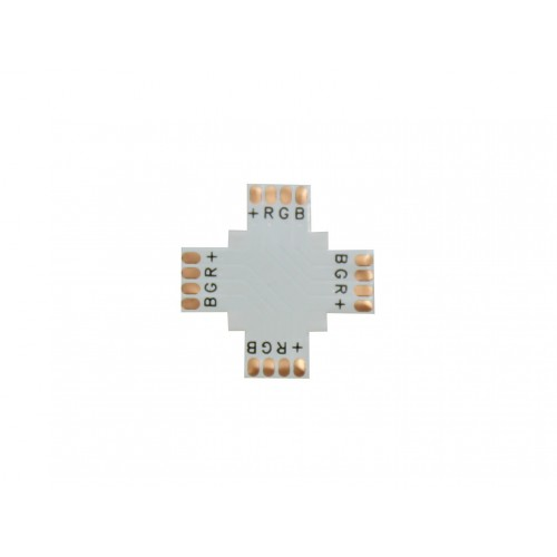 Conector RGB en cruz 90º 10mm para tira led Pack 10 ud