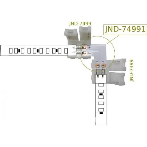 Unión en L para conector 8 mm tira led 2 contactos Pack 10 ud