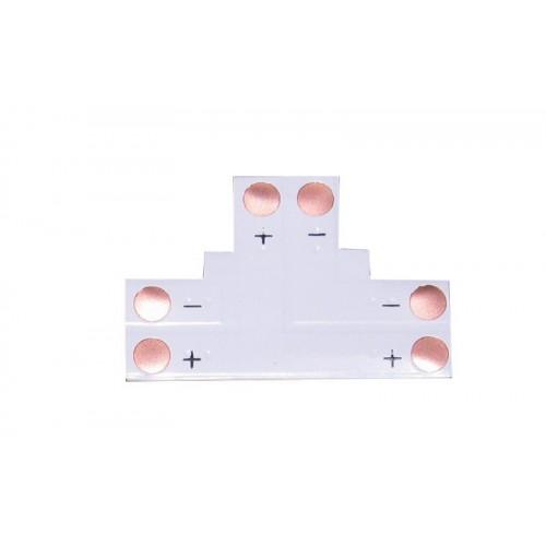 Unión en T para conector 8 mm tira led 2 contactos Pack 10 ud