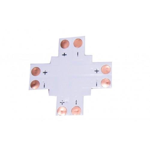 Unión en cruz  para conector 8 mm tira led 2 contactos Pack 10 ud