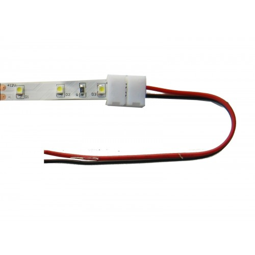 Conector Tira Led 8mm Presión 2 Contactos Cable 15 Cm Pack 10 Ud