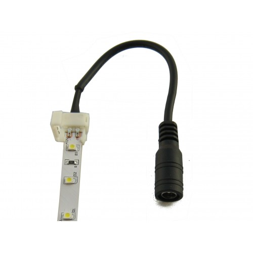 Cable conector tira led 8mm DC5,5 negro hembra IP20, 15cm Pack 10 ud