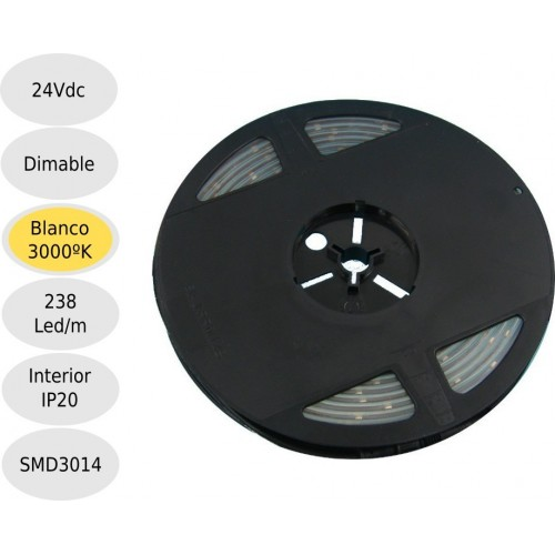 Tira led 24V 3000ºK 238leds IP20 SMD3014 Bobina 5 mts