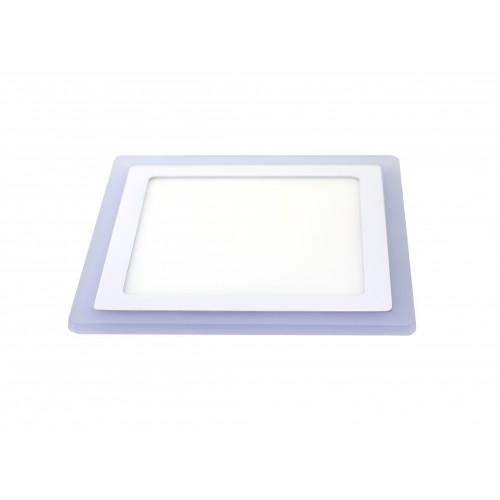 Downlight cuadrado empotrar dos colores blanco 6000ºK y azul. 18W + 6W