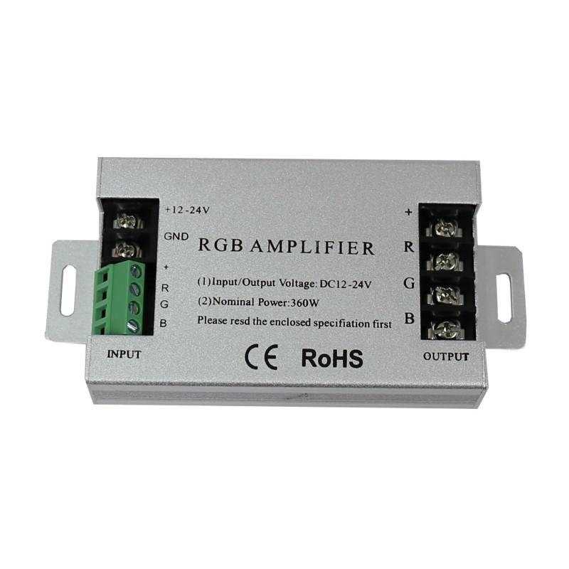 Amplificador repetidor para tira led RGB 360W 12 y 24V