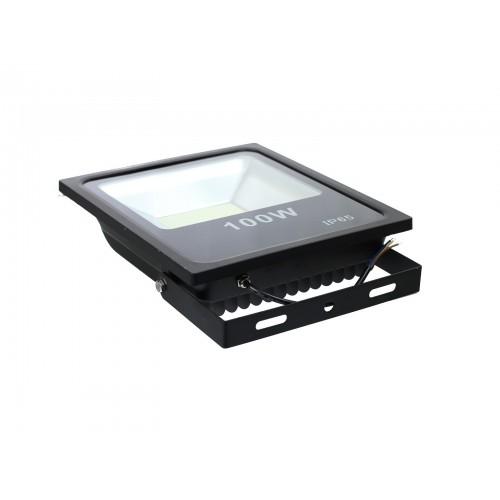 Proyector led slim 100W exterior IP65 SMD5730 6000K negro