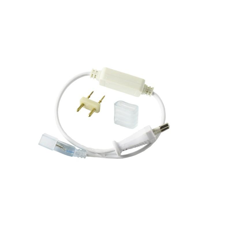 Kit conexión tira led 220V 6A SMD5050. Enchufe y capuchón