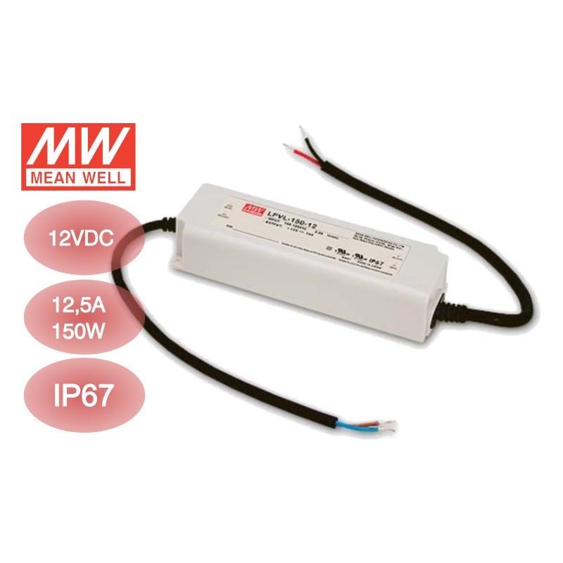 Transformador Meanwell 12VDC 12,5A-150W Exterior IP67