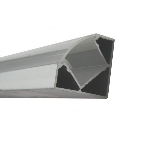 Perfil Aluminio Tira Led Esquina 2 mt Con Tapa Traslúcida 19,3x19,3mm