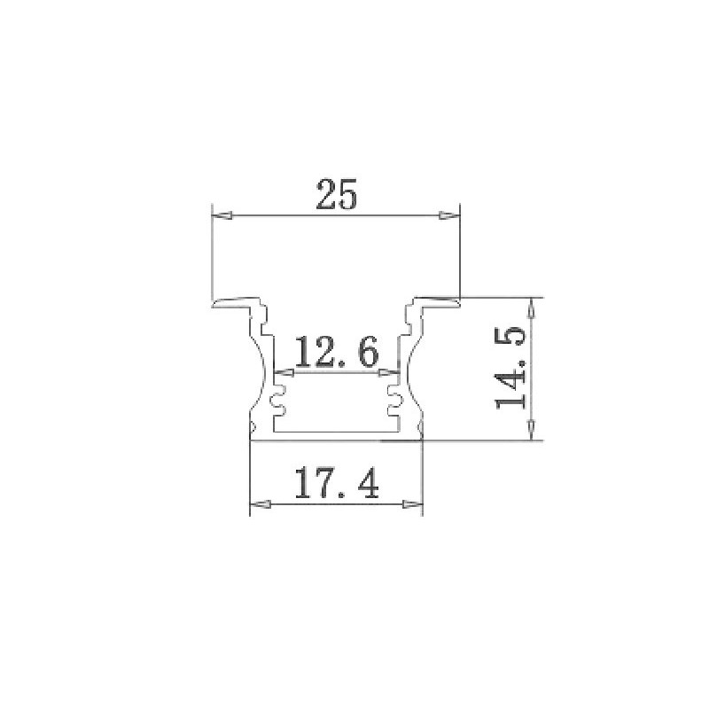 Perfil Aluminio Tira Led 2m Empotrar Suelo, Pared, Tapa Traslúcida