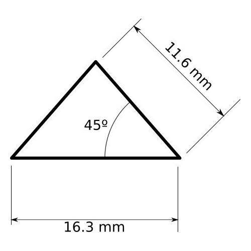 Perfil aluminio tira led 2 metros triangular isósceles 16,3 x 11,3 45º