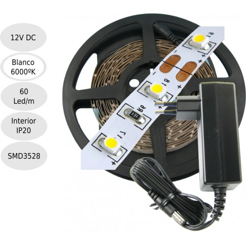 KIT tira de led 12V 6000k interior 60leds 5 metros
