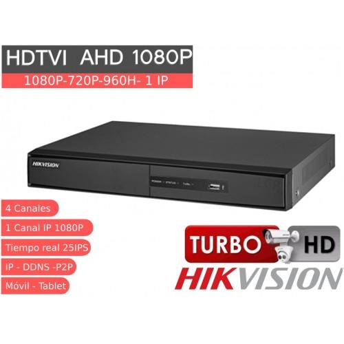 Videograbador 4 CH 1080P HD TVI, analógico IP, alarmas y audio DS-7204HQHI-F1NA