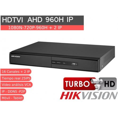 Videograbador 16 CH 1080N HD TVI, analógico e IP HIKVISION y audio DS-7216HGHI-F1