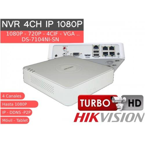 Grabador IP 4 canales HD 1080P 25Mb HK DS-7104NI-SN