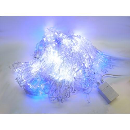 Cortina led luminosa exterior de 1x10 metros luz blanca y azul con efectos