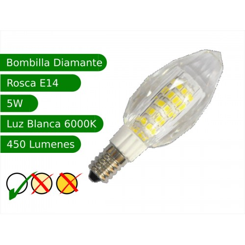 Bombilla LED E14 5W diamante blanco 6000ºK frio