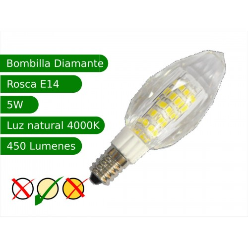 Bombilla LED E14 5W diamante blanco 4000ºK natural