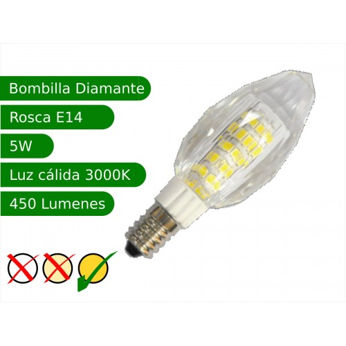 Bombilla LED E14 5W diamante blanco 3000K cálido Blister